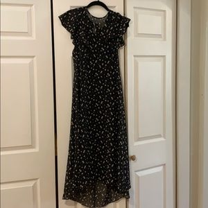 Floral Midi Length Silk Anthropologie Dress